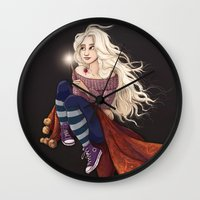 luna lovegood Wall Clocks featuring Luna Lovegood by Laure Lilyvale