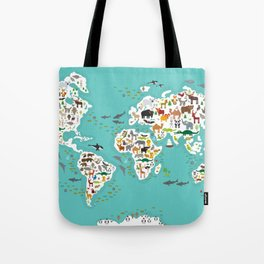 Cartoon animal world map for children and kids, Animals from all over the world Tote Bag