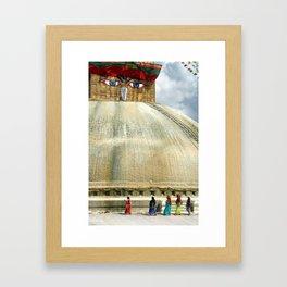 Circumambulating the Stupa Boudha Framed Art Print