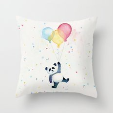 Birthday Panda Balloons Cute Animal Watercolor Throw Pillow