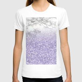 She Sparkles - Violet Purple Glitter Marble T-shirt