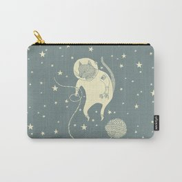 Sleepy Blue Space Cat Proves String Theory Carry-All Pouch