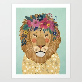 Lion with flowers Art Print