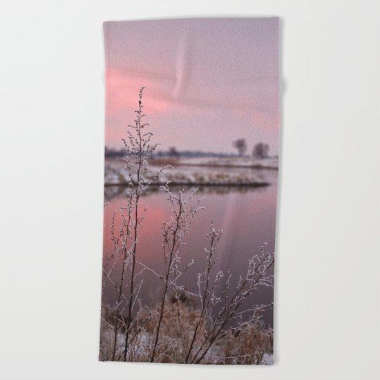 Winter Sunset At River Bank Beach Towel