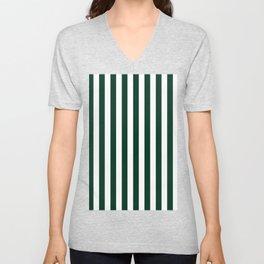 Narrow Vertical Stripes - White and Deep Green Unisex V-Neck