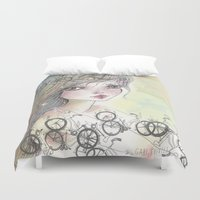 bikes Duvet Covers featuring Bikes and crown by GABI FVENTES