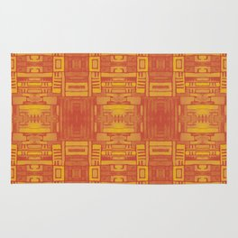 Mirror Pattern Tribal Style 2.0 -  Orange & Red - Warm colors Rug