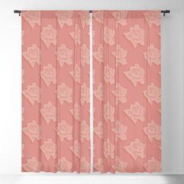 Coral Pink Rose Pattern Blackout Curtain