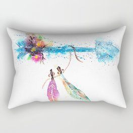 Boho Chic Watercolor Rectangular Pillow