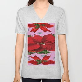POINSETTIA SNOWFLAKES HOLLY HOLIDAY PINK DESIGN Unisex V-Neck