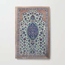 "Travel Photography ""Iznik ceramics, tiles in blue, teal, green in Istanbul. Photo print. Colorful Metal Print"