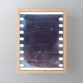 black scratched 35mm film frame, emulsion texture Framed Mini Art Print