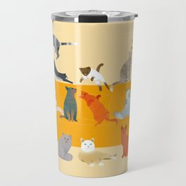 Cute cats on the couch   Beige Travel Mug