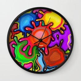Vibrant Paint Splats Wall Clock