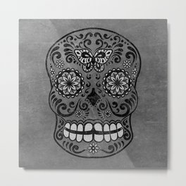 Dark gothic silver grey sugar skull Metal Print