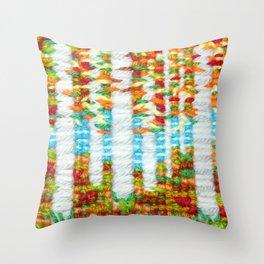 Autumn cross stitch in in a silver birch woodland Throw Pillow