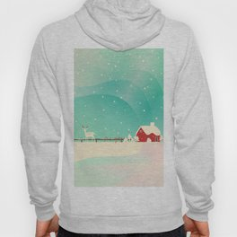 Peaceful Snowy Christmas (Teal) Hoody