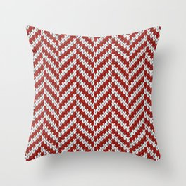 Realistic knitted herringbone pattern red Throw Pillow
