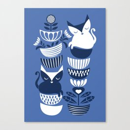 Swedish folk cats I // Indigo blue background Canvas Print