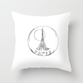 paris in a glass ball without a shadow Throw Pillow