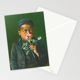 African American Boy Smelling a Rose Stationery Cards