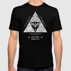 Legend of Zelda Kingdom of Hyrule Crest Letterpress Vector Art Mens Fitted Tee SMALL Black