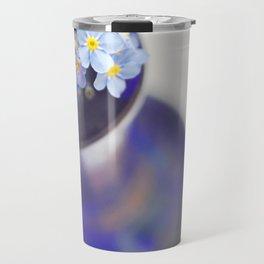 Blue Forget me nots in deep blue glass vase. Travel Mug