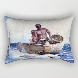 Winslow Homer1 - Shark Fishing,1885 - Digital Remastered Edition Rectangular Pillow