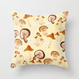 mushroom pattern watercolor painting Throw Pillow