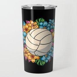 Volleyball With Colorful Flowers Hawaii Travel Mug