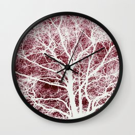 Red tree silhouette Wall Clock