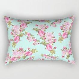 Pink & Mint Green Floral Rectangular Pillow