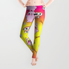 Cute funny Kawaii chibi little pink baby bunnies, happy sweet cheerful sushi with shrimp on top, rice balls and chopsticks colorful bright sunny yellow pattern design. Leggings