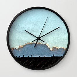 Sparrows on a roof at sunset Wall Clock