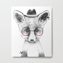 Fox - black and white with hat and glasses - large Metal Print