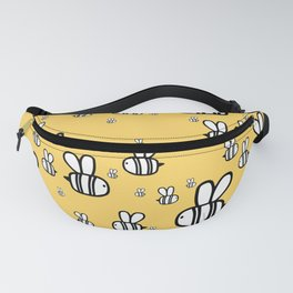 Cute baby print. Fat bees on honey orange background. Fanny Pack