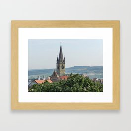 Cathedral Bell Tower in Sibiu Transylvania Framed Art Print