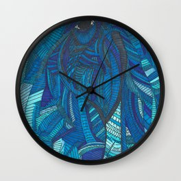 'He remembers' Ombre Blue Close-up Elephant Face Illustration with line work Wall Clock