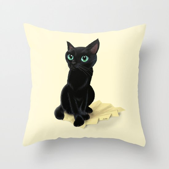 Kitty Throw Pillow : Black little kitty Throw Pillow by BATKEI Society6