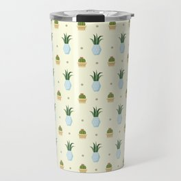 Pastel yellow brown green cactus floral dots summer pattern Travel Mug
