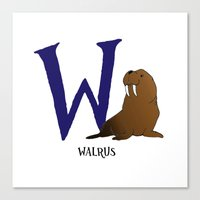 walrus Canvas Prints featuring Walrus by Dale B
