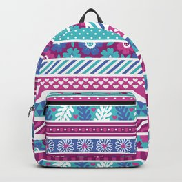 Abstract pink teal white geometrical floral patterns Backpack
