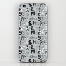 simple silver merry christmas and happy new year iPhone & iPod Skin
