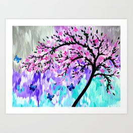cherry blossom with Ulysses butterflies Art Print
