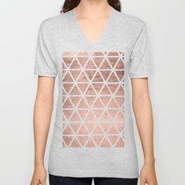Geometric faux rose gold foil triangles pattern Unisex V-Neck