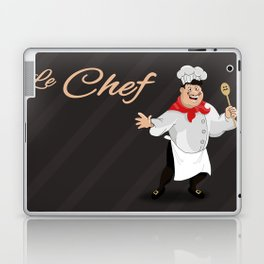 Le Chef Kitchen decor French chef with a mustache cartoon character illustration Laptop & iPad Skin