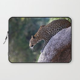 Leopard on the hop - Africa wildlife Laptop Sleeve