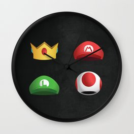 Super Mario Character Hats Wall Clock