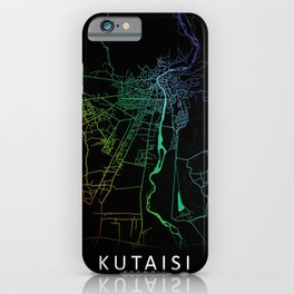 Kutaisi, Georgia, City, Map, Rainbow, Map, Art, Print iPhone Case