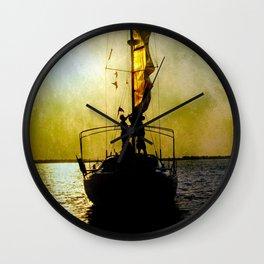 sunset and sailors Wall Clock